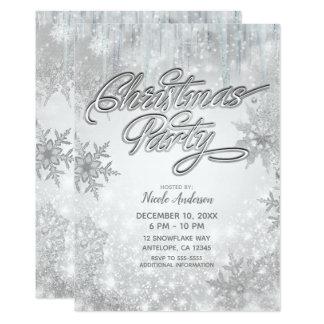 Christmas Party Winter Wonderland White Snowflakes Card