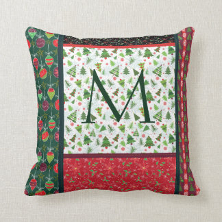Christmas Patch Monogram pillow, Country Xmas Throw Pillow