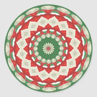 Christmas Patchwork Classic Round Sticker