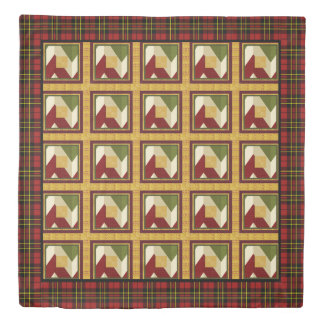 Christmas Patchwork Faux Quilt Stitching Duvet Cover