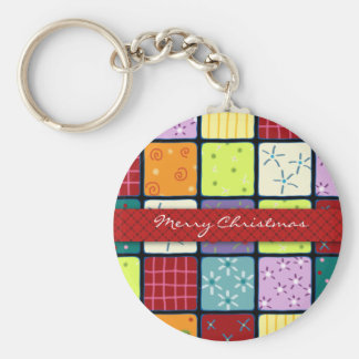Christmas Patchwork Pattern Design Key Chain Gift
