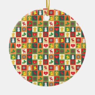 Christmas patchwork reindeers, snowflakes, snowman ceramic ornament