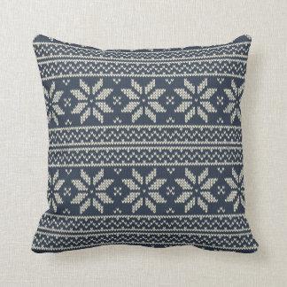 Christmas Pattern Blue Throw Pillow
