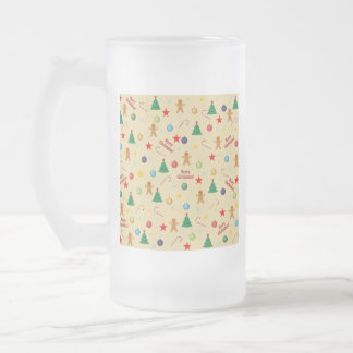 Christmas pattern frosted glass beer mug