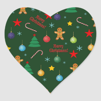 Christmas pattern heart sticker