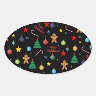 Christmas pattern oval sticker