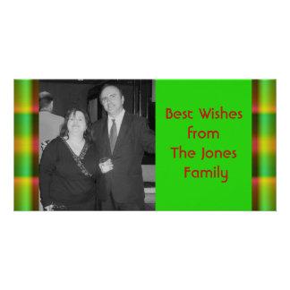 christmas pattern personalized photo card