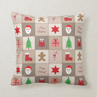 Christmas Pattern Pillow - Beige Tones Background