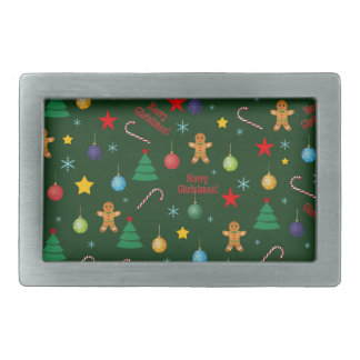 Christmas pattern rectangular belt buckles