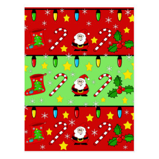 Christmas pattern - red and green postcard