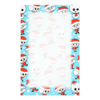 Christmas Pattern Santa and Snowman on Blue. Custom Stationery