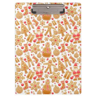 Christmas Pattern-Santa Claus Tree Rudolph Snowman Clipboard