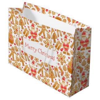 Christmas Pattern-Santa Claus Tree Rudolph Snowman Large Gift Bag