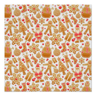Christmas Pattern-Santa Claus Tree Rudolph Snowman Poster