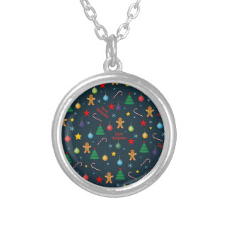 Christmas pattern silver plated necklace