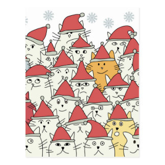 Christmas pattern with a lot of funny cats postcard
