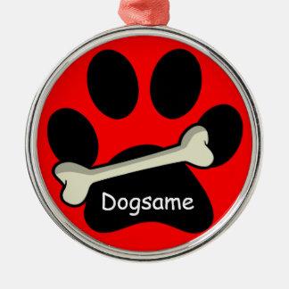 Christmas Paw Print and Bone Custom Dog's Name Metal Ornament