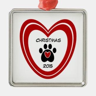 Christmas Paw Print Metal Ornament