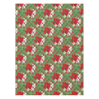Christmas Paw Prints with Santa Hat Tablecloth