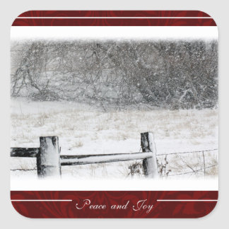 Christmas Peace and Joy Country Winter Snowscene Square Sticker