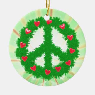 Christmas Peace Hearts Wreath Ceramic Ornament