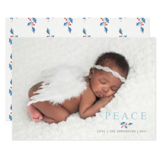 Christmas Peace Holly Branch Simple Text Photo Card