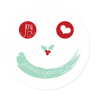 """Christmas Peace Love Smiley Face Holiday Greetings 5.25"""" Square Invitation Card"""
