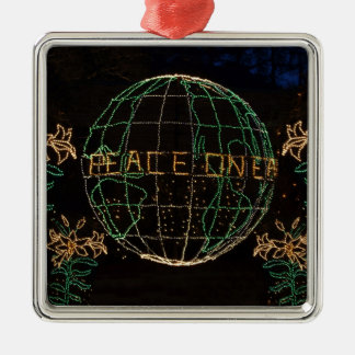 Christmas Peace on Earth 1 Silver-Colored Square Ornament