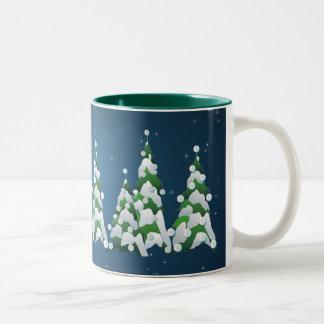 CHRISTMAS PEARL TREES 2 by SHARON SHARPE Two-Tone Coffee Mug