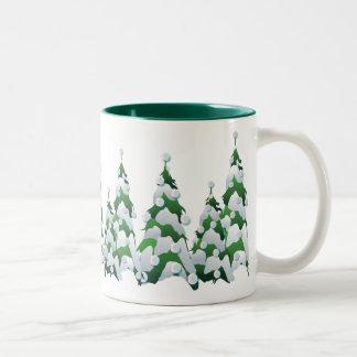 CHRISTMAS PEARL TREES by SHARON SHARPE Two-Tone Coffee Mug