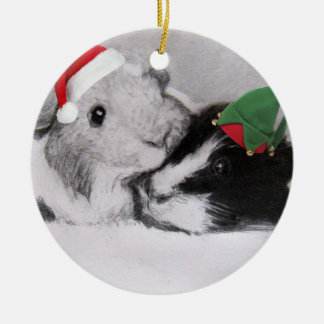 Christmas Peegs Guinea Pig Round Ceramic Ornament