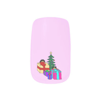 Christmas peeking minx nail art