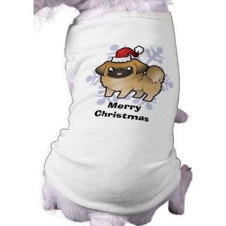 Christmas Pekingese (puppy cut) Pet T-shirt
