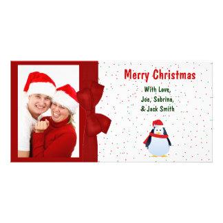 Christmas Penguin and Polka Dots Photo Card