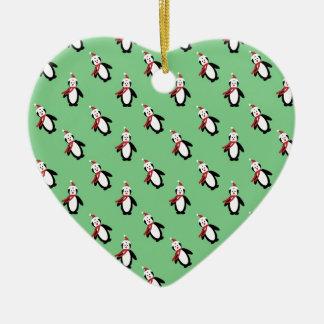 Christmas Penguin Ceramic Ornament