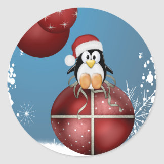 Christmas Penguin Classic Round Sticker