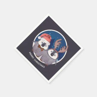 Christmas Penguin Couple Adorable Personalized Disposable Napkins