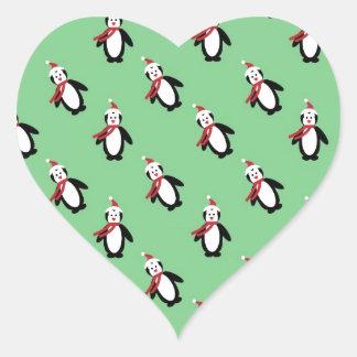 Christmas Penguin Heart Sticker