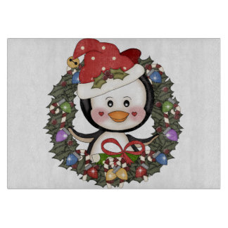 Christmas Penguin Holiday Wreath Cutting Board