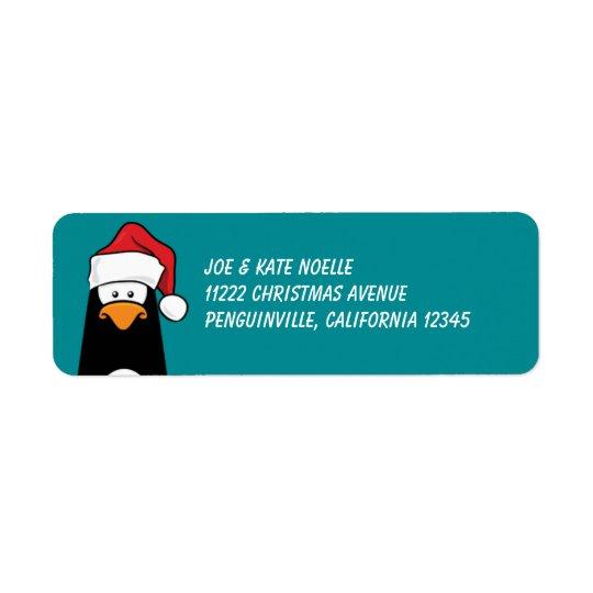Christmas Penguin in a Santa Hat