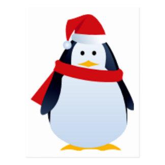 Christmas Penguin In A Santa Hat Post Card