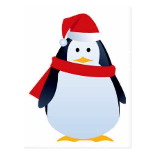 Christmas Penguin In A Santa Hat Post Card