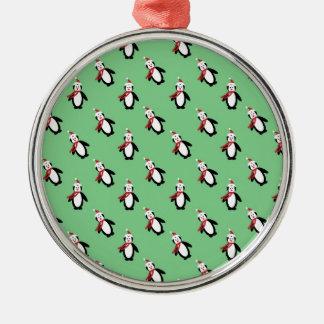 Christmas Penguin Metal Ornament