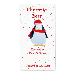 Christmas Penguin Mini Beer Label