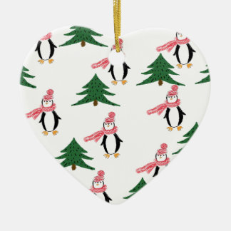 Christmas Penguin Muffin Ceramic Ornament