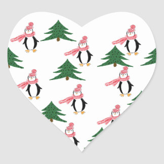 Christmas Penguin Muffin Heart Sticker