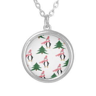 Christmas Penguin Muffin Silver Plated Necklace