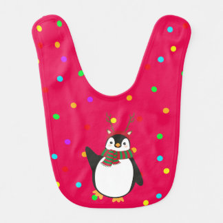 Christmas Penguin On Red With Antlers Bib