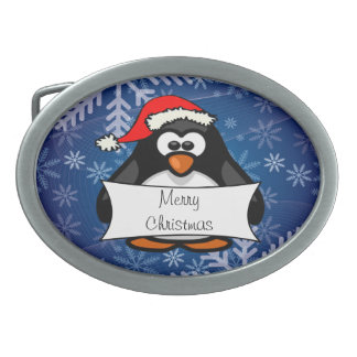 Christmas Penguin Oval Belt Buckle