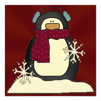 "Christmas Penguin Party Invitation 5.25"" Square Invitation Card"
